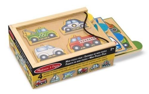 drewniane puzzle z samochodami