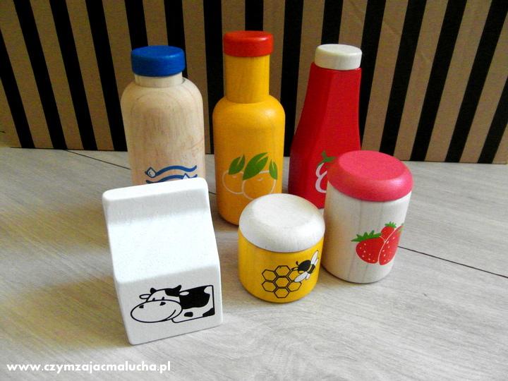 drewniany zestaw jedzenia i napojów plan toys