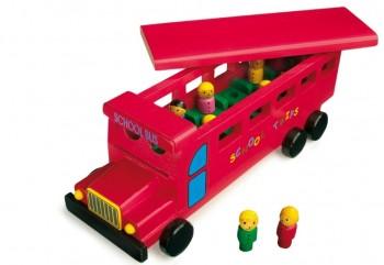 drewniany autobus dla dzieci